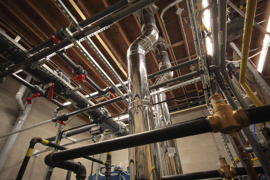 Mechanical Plumbing Project in London Ontario - Community swimming pool / wading pool boiler room